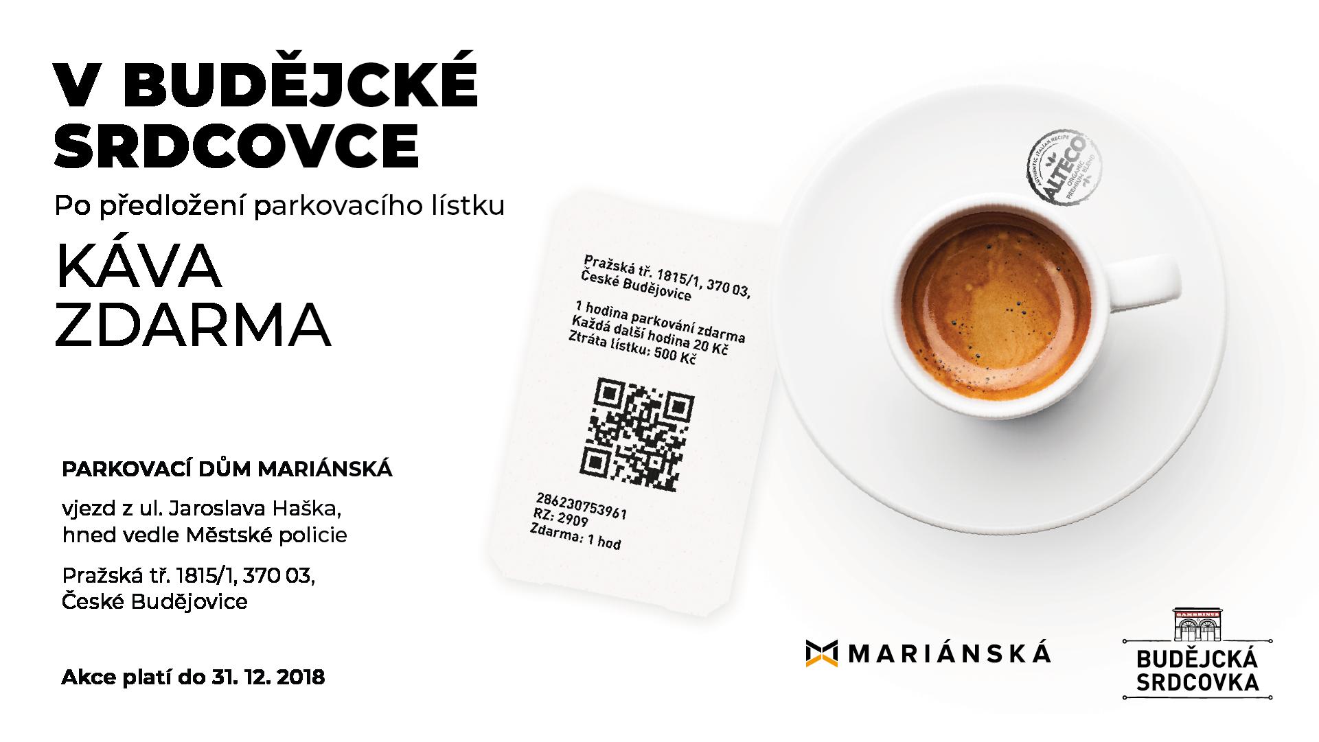 Mariánská káva zdarma k parkovacímu šeku